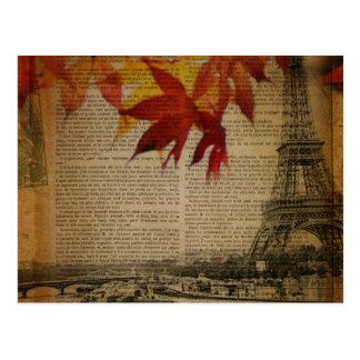 fall leaves Vintage Autumn Paris Eiffel tower Postcard