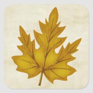 Fall Season Golden Leaf Customizable Sticker