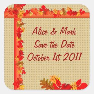 Fall Season Save the Date Square Sticker