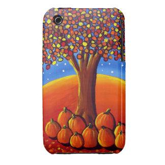 Fall Tree With Pumpkins Folk Art iPhone Case
