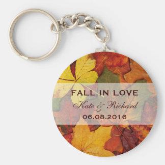 Falling Autumn Leaves Wedding Favor Keychain
