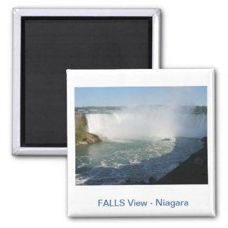 Falls View : Niagara USA Canada Square Magnet