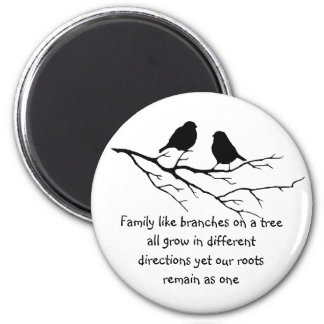 Family like branches on a tree Saying with Birds 6 Cm Round Magnet