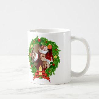 Family Photo Customizable_Christmas Wreath Basic White Mug
