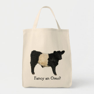 Fancy an Oreo? Belted Galloway Cow Grocery Tote Bag