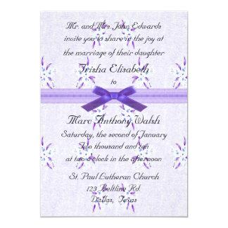 Fancy Purple Floral Wedding Invitation