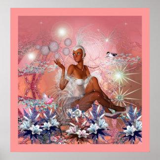 Fantasy Art Poster In The Pink Girl Birds