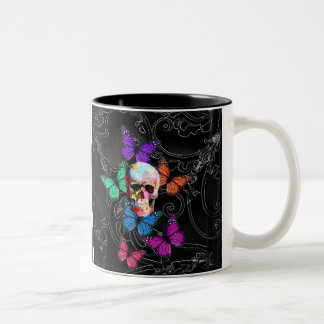 Fantasy skull and colored butterflies Two-Tone mug