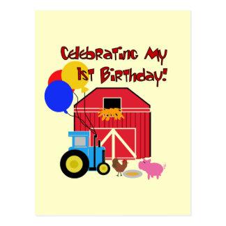 Farm 1st Birthday Tshirts and Gifts Postcard