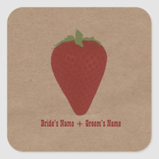 Farmers Market Inspired Wedding Sticker Strawberry
