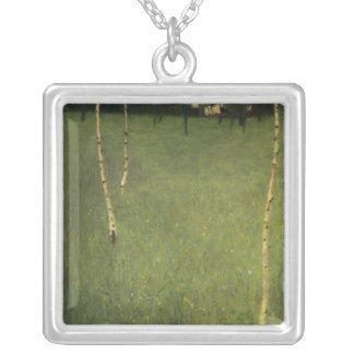 Farmhouse with Birch Trees, 1900 Square Pendant Necklace