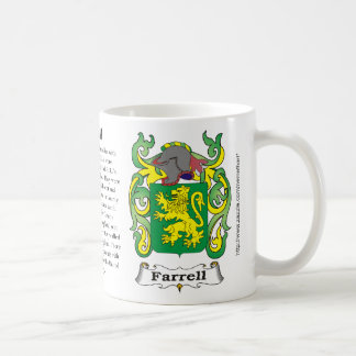 Farrell, the origin, meaning and the crest basic white mug