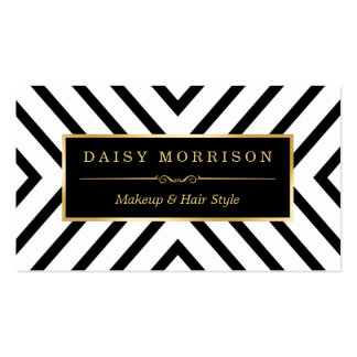 Fashion Beauty Gold Black White Line Pattern Pack Of Standard Business Cards