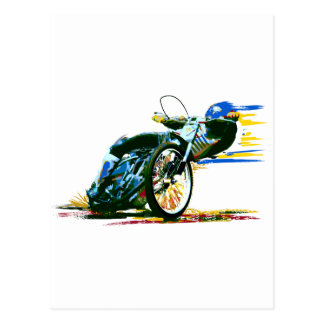 Fast Awesome Speedway Motorcycle Postcard
