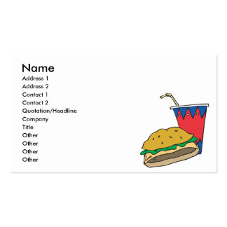 fast food burger and soft drink pack of standard business cards
