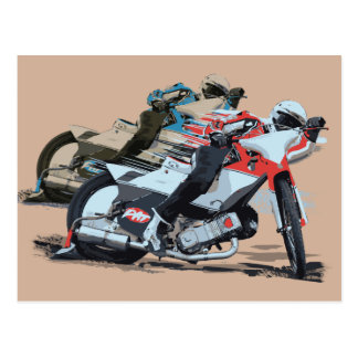Fast Red Speedway Motorcycle Postcard