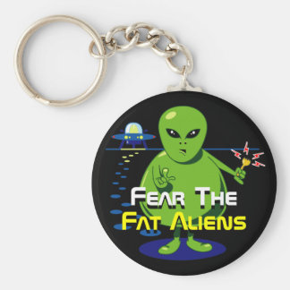 Fat Alien Invasion Basic Round Button Key Ring