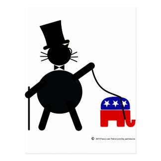 Fatcat and Republican Elephant Postcard
