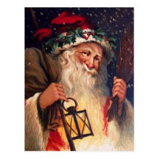Father Christmas with Lantern Postcard