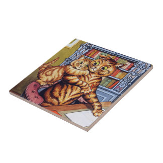 Father(Daddy) cat, Louis Wain Small Square Tile