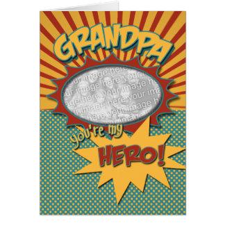 Father's Day Comic Book Hero Grandpa Greeting Card