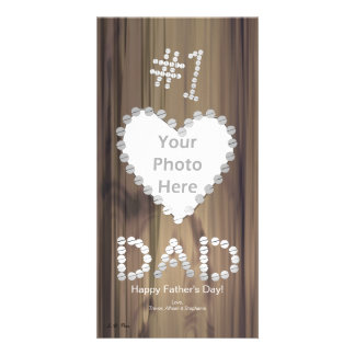 Father's Day - Number One Dad on Wood Personalized Photo Card