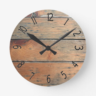 Faux Brown Wooden Paneling Wall Clocks