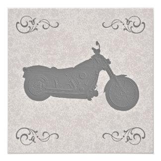 Faux Embossed Motorcycle Biker Wedding Invitation