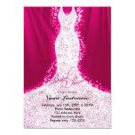Faux Glitter Dress on Pink Bridal Shower Invite