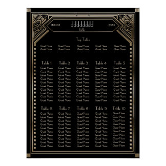Faux Gold Art Deco Gatsby Wedding Seating Chart Poster