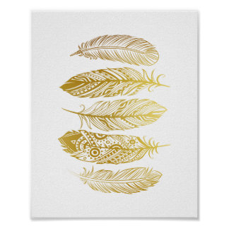Faux Gold Feathers Tribal Print Poster