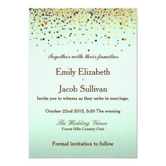 Faux Gold Foil Confetti Elegant Wedding 11 Cm X 16 Cm Invitation Card