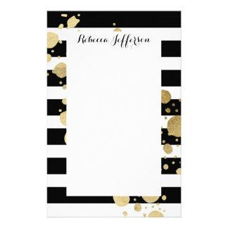 Faux Gold Paint Splatter on Black & White Stripes Stationery Paper