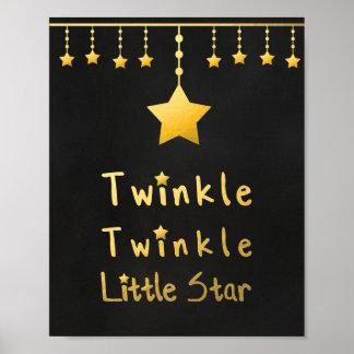 Faux gold Twinkle Twinkle Little star gray stars Poster