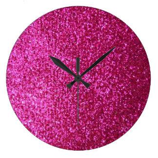 Faux Hot Pink Glitter Clocks