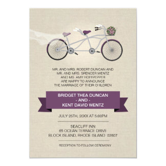 Faux Linen Plum Tandem Bicycle Wedding 13 Cm X 18 Cm Invitation Card