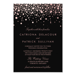 Faux Rose Gold Confetti Black and White Wedding 13 Cm X 18 Cm Invitation Card