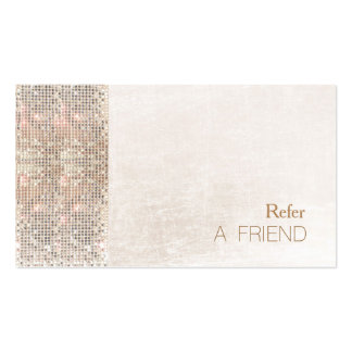 FAUX Sequin Brushed White Marble Salon Referral Pack Of Standard Business Cards
