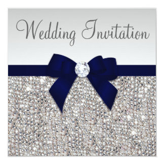 Faux Silver Sequins Diamonds Dark Navy Bow Wedding 13 Cm X 13 Cm Square Invitation Card