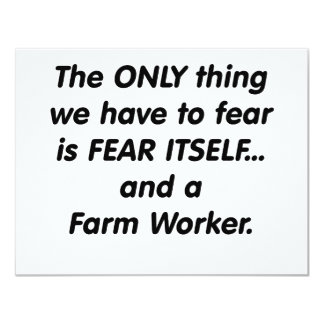 fear farm worker 11 cm x 14 cm invitation card