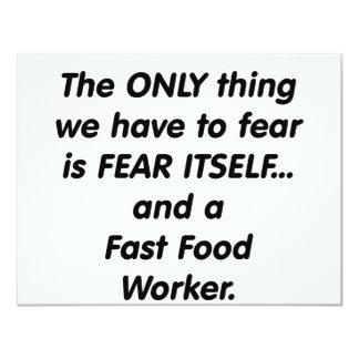 fear fast food worker 11 cm x 14 cm invitation card