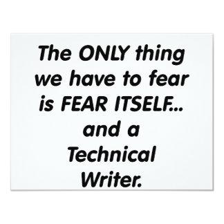 fear technical writer 11 cm x 14 cm invitation card