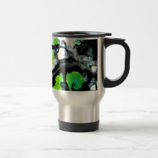 Fearless abstract painting black white green stainless steel travel mug