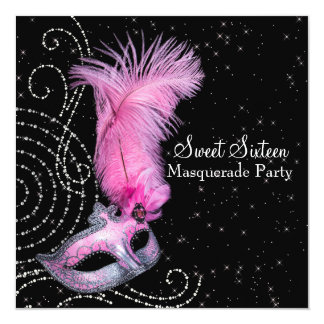 Feather Mask Pink Black Sweet 16 Masquerade Party 13 Cm X 13 Cm Square Invitation Card
