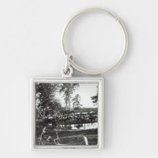 Federal battery fording a tributary on battle Silver-Colored square key ring
