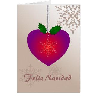 Feliz Navidad, Love heart shape n snowflakes Greeting Card