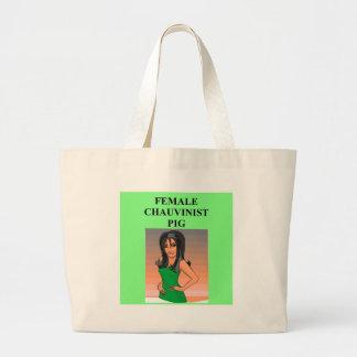 female chauvinist pig. jumbo tote bag