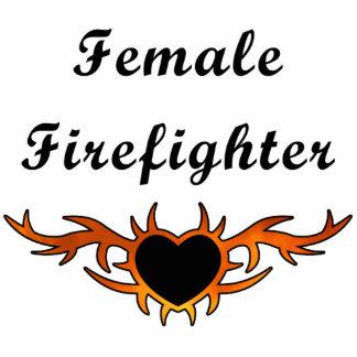 Female Firefighter Tattoo Photo Sculpture Decoration