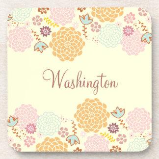 Feminine Fancy Modern Floral Personalized Coasters