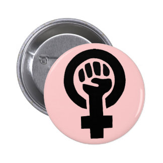 Feminist Symbol with Pink Background 6 Cm Round Badge
